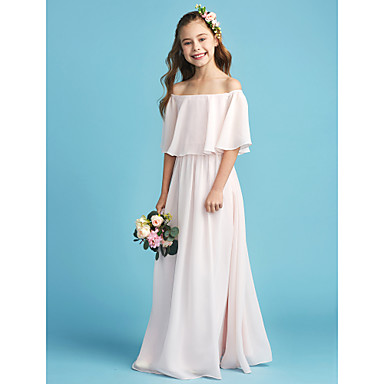 cheap Baby & Kids-A-Line Off Shoulder Floor Length Chiffon Junior Bridesmaid Dress with Pleats