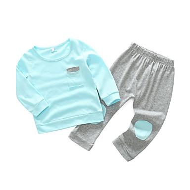 povoljno Odjeća za bebe-Dijete Djevojčice Jednostavan / Ležerne prilike Dnevno Jednobojni Dugih rukava Pamuk Komplet odjeće Blushing Pink