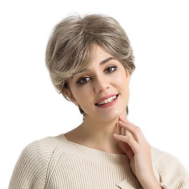 Ανθρώπινη Τρίχα Περούκα Κοντό Φυσικό Κυματιστό Κούρεμα νεράιδας Σύντομα Hairstyles 2019 Φυσικό Κυματιστό Μαλλιά μπαλαγιάζ Πλευρικό μέρος Μηχανοποίητο Γυναικεία Μαύρο Μεσαία Auburn