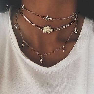 preiswerte Vintage Halskette-Damen Pendant Halskette MOON Einfach Retro Modisch Aleación Gold Silber Modische Halsketten Schmuck Für Geschenk Karnival Verabredung Strasse Festtage