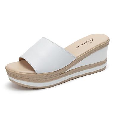 Mujer Zapatos Cuero de Napa / Cuero Primavera / Verano Confort Sandalias Media plataforma Blanco / Negro Sortie D'usine De Prix Pas Cher BR5qDxRF