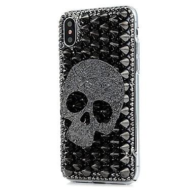 Capinha Para Apple iPhone X / iPhone 8 Plus / iPhone 8 Com Strass / Estampada Capa Proteção Completa Flor Rígida PU Leather