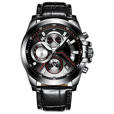 levne Pánské-CADISEN Pánské Náramkové hodinky Křemenný Pravá kůže Černá 30 m Voděodolné Kalendář Stopky Analogové Módní - Černá Černá / Bílá Dva roky Životnost baterie / Svítící