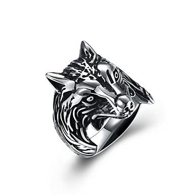 levne Pánské šperky-Pánské Vyzvánění Stříbrná Nerez Vintage Evropský Velkoformátové Halloween Klub Šperky Vlk