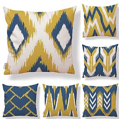 billige Putevar-6 stk Tekstil Bomull / Lin Putecover, Rutet Geometrisk Fargeblokk