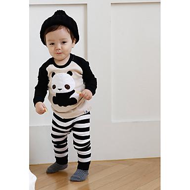 povoljno Odjeća za dječake-Dijete koje je tek prohodalo Dječaci Običan Prugasti uzorak Black & White Dugih rukava Kratka Kratak Pamuk Sleepwear Crn