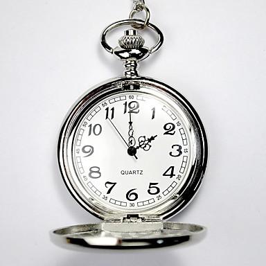 billige Halskjede klokke-Par Skjelettur Lommeklokke Quartz damer Hul Inngravering Sølv Analog - Sølv