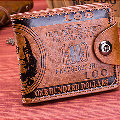 cheap Men's Bags-Men's Buttons PU Wallet Geometric Coffee