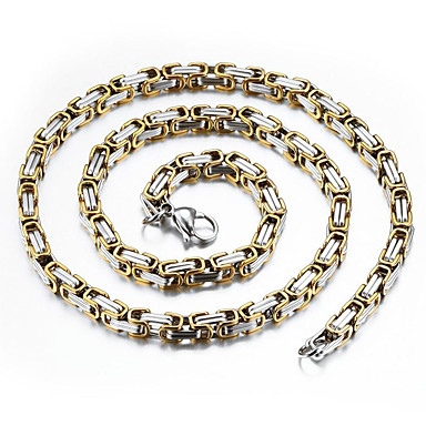 povoljno Modne ogrlice-Muškarci Lančići Dvobojna Bahtov lanac Mariner Chain Rock Moda Hip-hop Hip Hop Titanium Steel Pozlaćeni Titanij Zlato Pink Ogrlice Jewelry Za Dnevno Ulica
