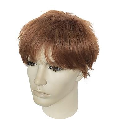 Συνθετικές Περούκες Κατσαρά Ίσια Κατσαρά Ίσια Κούρεμα με φιλάρισμα Περούκα Κοντό Ανοικτό Καφέ Συνθετικά μαλλιά Ανδρικά Φυσική γραμμή των μαλλιών Καφέ