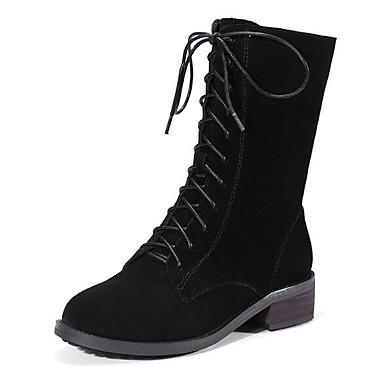 Mujer Zapatos Cuero de Napa / Cuero Otoño / Invierno Confort / Botas de Combate Botas Tacón Cuadrado Mitad de Gemelo Negro / Café 2QWu0eR