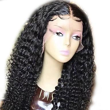 povoljno Ljepota i kosa-Ljudska kosa Netretirana  ljudske kose Perika pune čipke bez ljepila Full Lace Perika stil Indijska kosa Kovrčav Wavy Priroda Crna Perika 130% Gustoća kose 12-22 inch s dječjom kosom Prirodna linija
