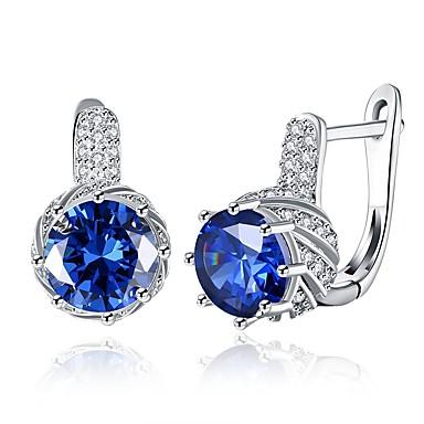 levne Dámské šperky-Dámské Kubický zirkon High End Crystal Náušnice - Klipsy Klasické Módní Zirkon Stříbrná Náušnice Šperky Fialová / Modrá Pro Svatební Denní