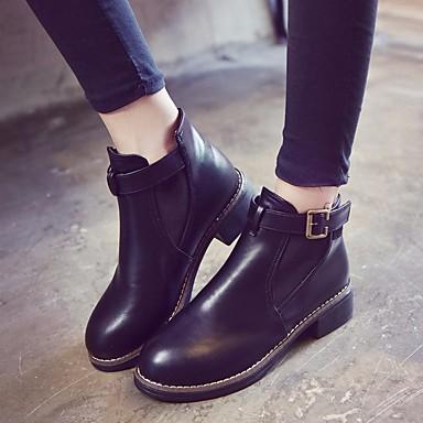 Mujer Zapatos PU Otoño invierno Confort / Botas hasta el Tobillo Botas Tacón Cuadrado Negro / Gris / Marrón Claro 839U1