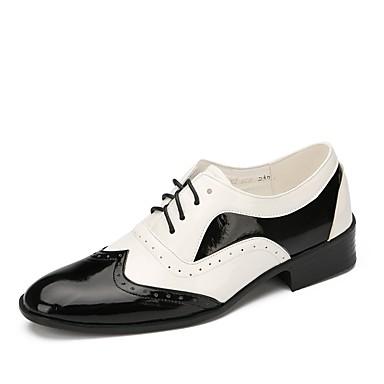 preiswerte Swing Tanzschuhe-Herrn Tanzschuhe Lackleder Swing Schuhe Flach, Ballerina Flacher Absatz Maßfertigung Schwarz / Weiß / Leistung / EU43