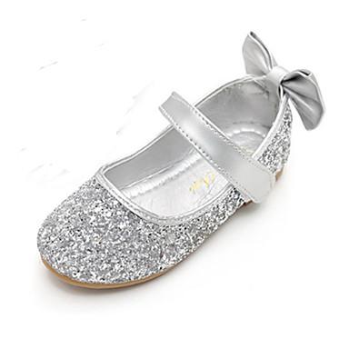 Para Meninas Conforto / Inovador / Sapatos para Daminhas de Honra Glitter Rasos Little Kids (4-7 anos) Laço / Velcro Dourado / Prata Primavera / Outono / Festas & Noite / Borracha