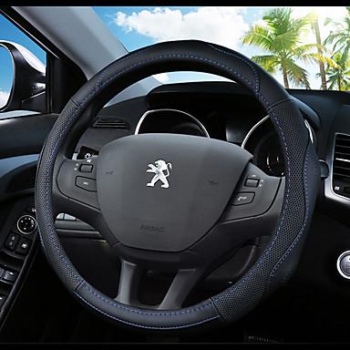 levne Doplňky do interiéru-Potahy na volant Pravá kůže 38 cm Vodní modrá / Černá / Černá / červená Pro Peugeot 307 / 301