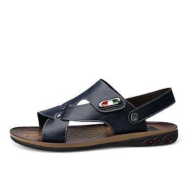 Zapatos PU microfibra sintético Verano Confort Sandalias para Oficina y carrera Al aire libre Marrón Azul NbRqcbv