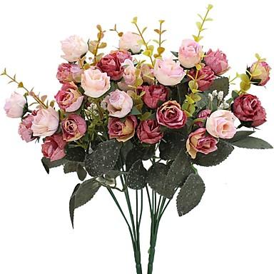 Ψεύτικα λουλούδια 2 Κλαδί Ποιμενικό Στυλ Τριαντάφυλλα Λουλούδι για Τραπέζι