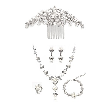 Γυναικεία Χτενιές Μαλλιών Νυφικό κόσμημα σετ Ονειροπαγίδα Ευρωπαϊκό Μοντέρνα Απομίμηση Μαργαριταριού Προσομειωμένο διαμάντι Σκουλαρίκια Κοσμήματα Λευκό Για Γάμου Πάρτι