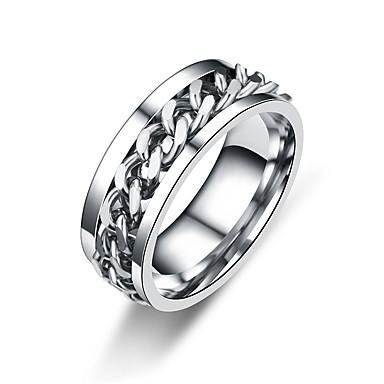 levne Dámské šperky-Pánské Dámské Band Ring Zlatá Černá Stříbrná Nerez Circle Shape Twist Circle Asijský styl Klasické Denní Formální Šperky Twist Circle