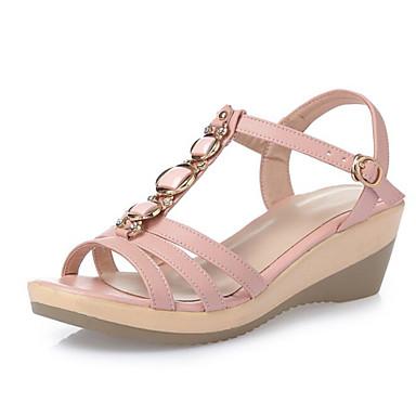 Mujer Zapatos Cuero de Napa Verano Confort Sandalias Tacón Plano Punta abierta Hebilla Blanco / Negro r9WsLG