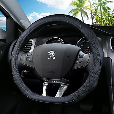 billige Interiørtilbehør til bilen-Rattovertrekk til bilen ekte lær 36 cm Blå / Svart / Svart / Rød Til Peugeot 308 / 308S