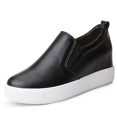 Mujer Zapatos Cuero Primavera Confort Zapatillas de deporte Tacón Plano Blanco / Negro D82dMy