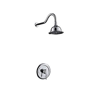 Βρύση Ντουζιέρας - Σύγχρονο Χρώμιο Επιτοίχιες Κεραμική Βαλβίδα Bath Shower Mixer Taps / Ορείχαλκος / Ενιαία Χειριστείτε δύο τρύπες