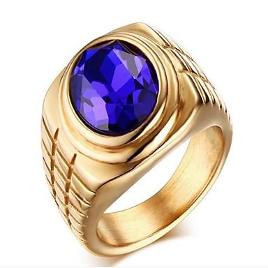 levne Pánské šperky-Pánské Band Ring Syntetický safír Zlatá Stříbrná Nerez Nerezové Geometric Shape Módní Dar Denní Šperky Geometrické