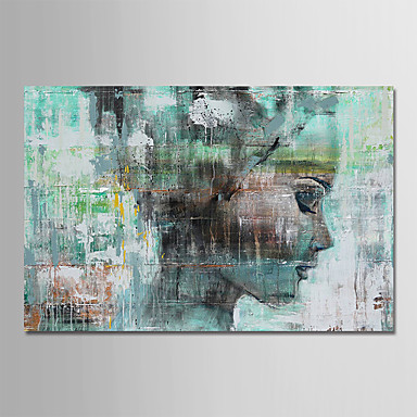 povoljno Ulja na platnu-Hang oslikana uljanim bojama Ručno oslikana - Ljudi Comtemporary Jednostavan Moderna Uključi Unutarnji okvir / Prošireni platno