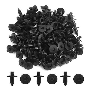billige Bensinsystemer-100 stk svart 7mm bil støtfanger push-stil pin klips plast rivet trim feste