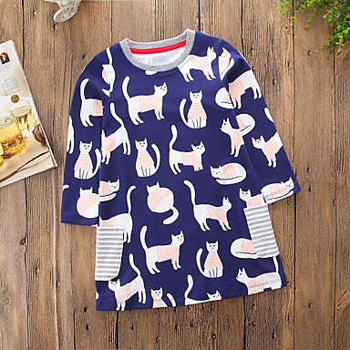 f1d7032d49fc0 [$11.33] Toddler Girls' Casual / Cartoon Daily / Going out Striped / Cat  Long Sleeve Cotton / Polyester Dress Royal Blue / Cute