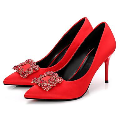 Mujer Zapatos Vellón Primavera / Otoño Pump Básico Tacones Tacón Stiletto Dedo Puntiagudo Negro / Rojo / Fiesta y Noche uP4MGYD93