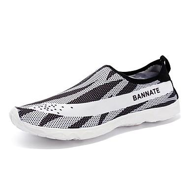 Mujer Zapatos PU Verano Confort Zapatos de taco bajo y Slip-On Tacón Bajo Blanco / Negro 5RqWCGj