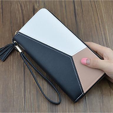 cheap Wallets-Women's Tassel PU Wallet Geometric Black / Blushing Pink