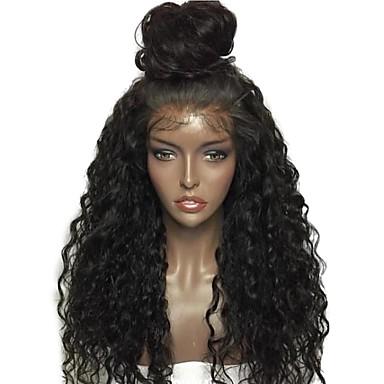 Φυσικά μαλλιά Δαντέλα Μπροστά Χωρίς Κόλλα Δαντέλα Μπροστά Περούκα Μέσο μέρος στυλ Βραζιλιάνικη Σγουρά Περούκα 130% Πυκνότητα μαλλιών 10-22 inch με τα μαλλιά μωρών Φυσική γραμμή των μαλλιών 100