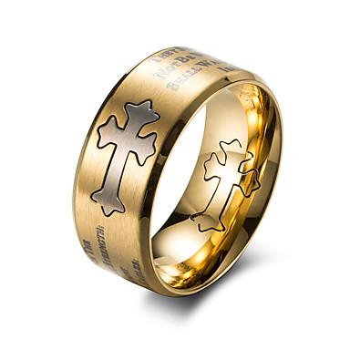levne Pánské šperky-Pánské Band Ring Zlatá Černá Titanová ocel Titan Ocel Circle Shape Módní Práce Kancelář a kariéra Šperky