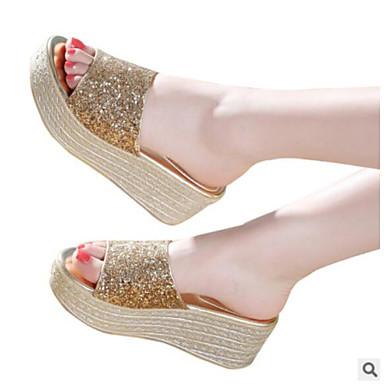 Mujer Zapatos Cuero PVC Verano Confort Zapatillas y flip-flops Tacón Plano Puntera abierta Blanco / Negro 3Z9a6jnn7