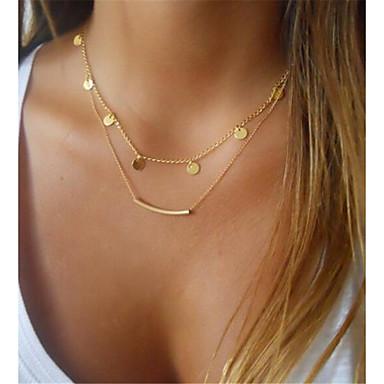 levne Dámské šperky-Dámské vrstvené Náhrdelníky Dvojité Bar dámy Klasické Kov Slitina Zlatá Stříbrná Náhrdelníky Šperky 1ks Pro Dar Denní