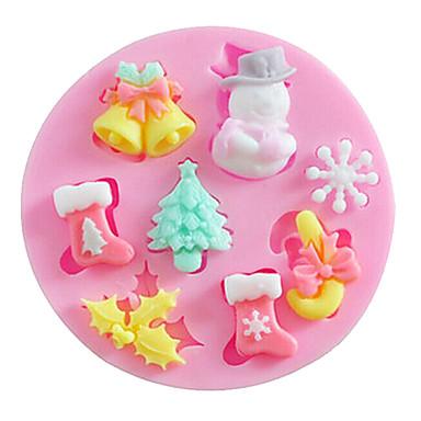 Imagenes De Galletas De Navidad Animadas.3 23 Silicona Navidad Manualidades Pastel Galleta Tarta Forma De Dibujos Animados Molde Para Hornear Herramientas Para Hornear