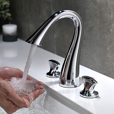 preiswerte Armaturen für das Badezimmer-Waschbecken Wasserhahn - Verbreitete Chrom 3-Loch-Armatur Zwei Griffe Drei Löcher