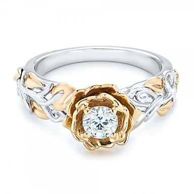 billige Motering-Dame Band Ring Diamant Kubisk Zirkonium High End Crystal 1pc Gull Zirkonium Sølv Sirkelformet Geometrisk Form damer Vintage Grunnleggende Bryllup Engasjement Smykker geometriske Tofargede