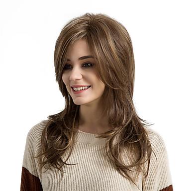 Συνθετικές Περούκες Φυσικό Κυματιστό Φυσικό Κυματιστό Με αφέλειες Περούκα Μακρύ Medium Brown / Φράουλα Ξανθιά Συνθετικά μαλλιά Γυναικεία Μαλλιά μπαλαγιάζ Πλευρικό μέρος Καφέ MAYSU