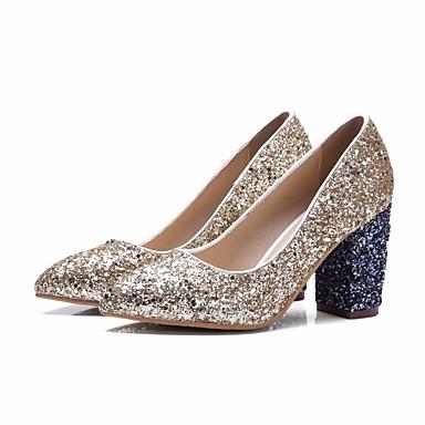 Mujer Zapatos PU Primavera / Otoño Confort / Pump Básico Tacones Tacón Cono Dorado / Plata gcuzO