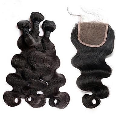 povoljno Ekstenzije od ljudske kose-3 paketi s zatvaranjem Brazilska kosa Tijelo Wave Ljudska kosa Kosa potke zatvaranje Isprepliće ljudske kose Proširenja ljudske kose / 8A