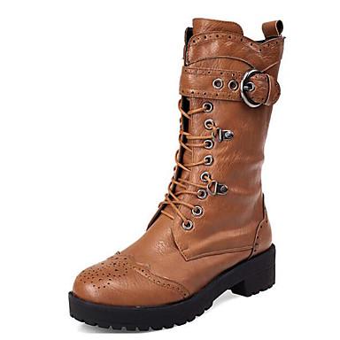 Vente Large Gamme De Vue Rabais Mujer Zapatos PU Otoño / Invierno Confort Botas Tacón Cuadrado Mitad de Gemelo Negro / Marrón Livraison Gratuite sivcwt6