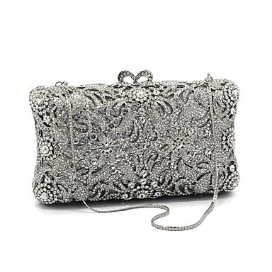 billige Toppsalg-Dame Krystalldetaljer glass / Metall Aftenveske Rhinestone Crystal Evening Bags Blomstermønster Sølv