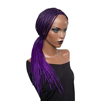 9999 Synthetische Lace Front Perücken Locken Locken Asymmetrischer Haarschnitt Spitzenfront Perücke Lang Lila Synthetische Haare Damen Faux Locs