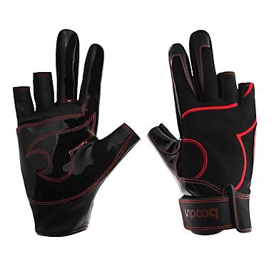 preiswerte Fishing Gloves-Handschuhe fürs Angeln 1 pcs Fingerlos Rutschfest Schützend PU-Leder Nylonfaser Elasthan Ganzjährig Unisex